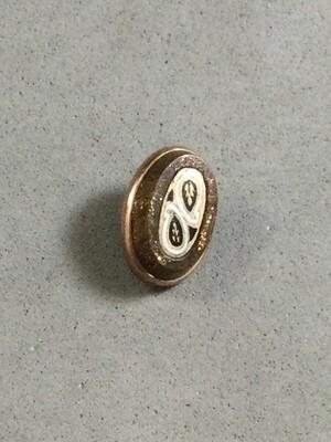 Enameled Paisley in Brass set in Goldstone