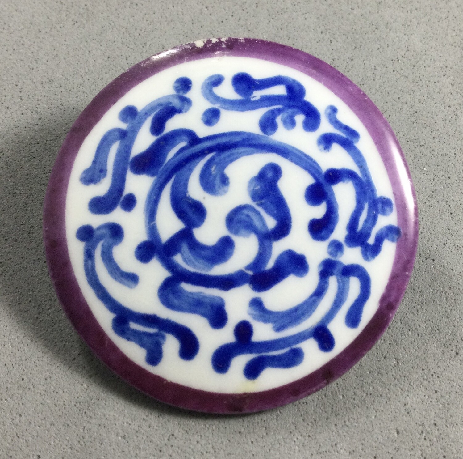 Painted Ceramic with Large Metal Backplate