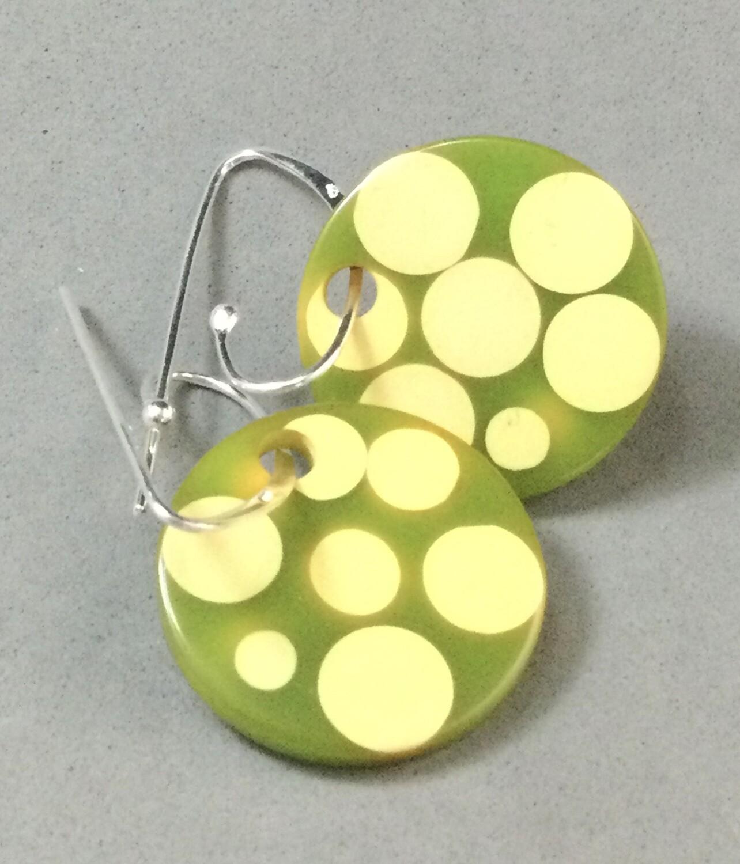 Polka Dot Bakelite on Sterling Silver interchangeable Earring Wires
