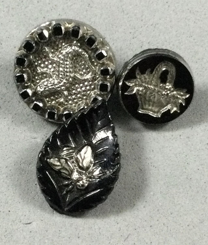 Silver Luster Black Glass Basket, Salamander and Bee on Leaf