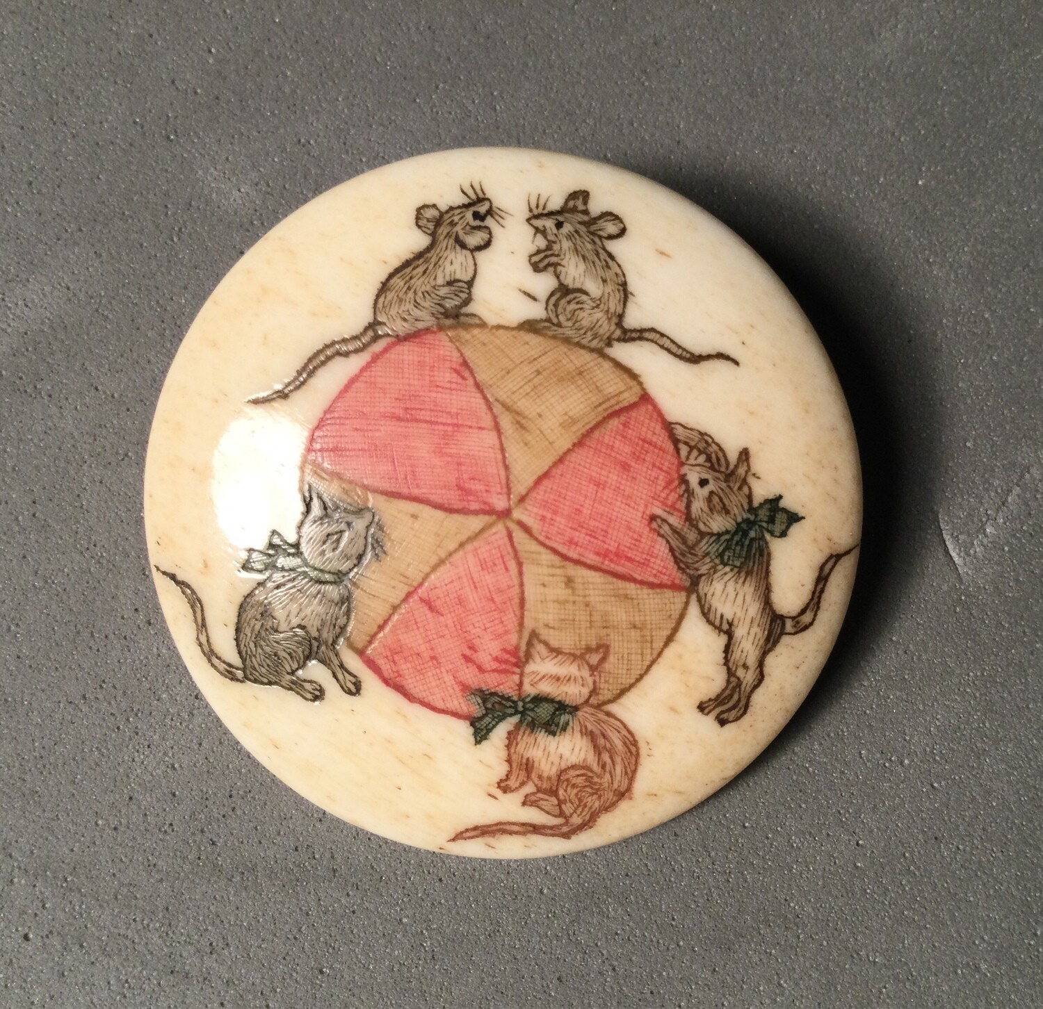Scrimshaw on Bone Cats and Mice