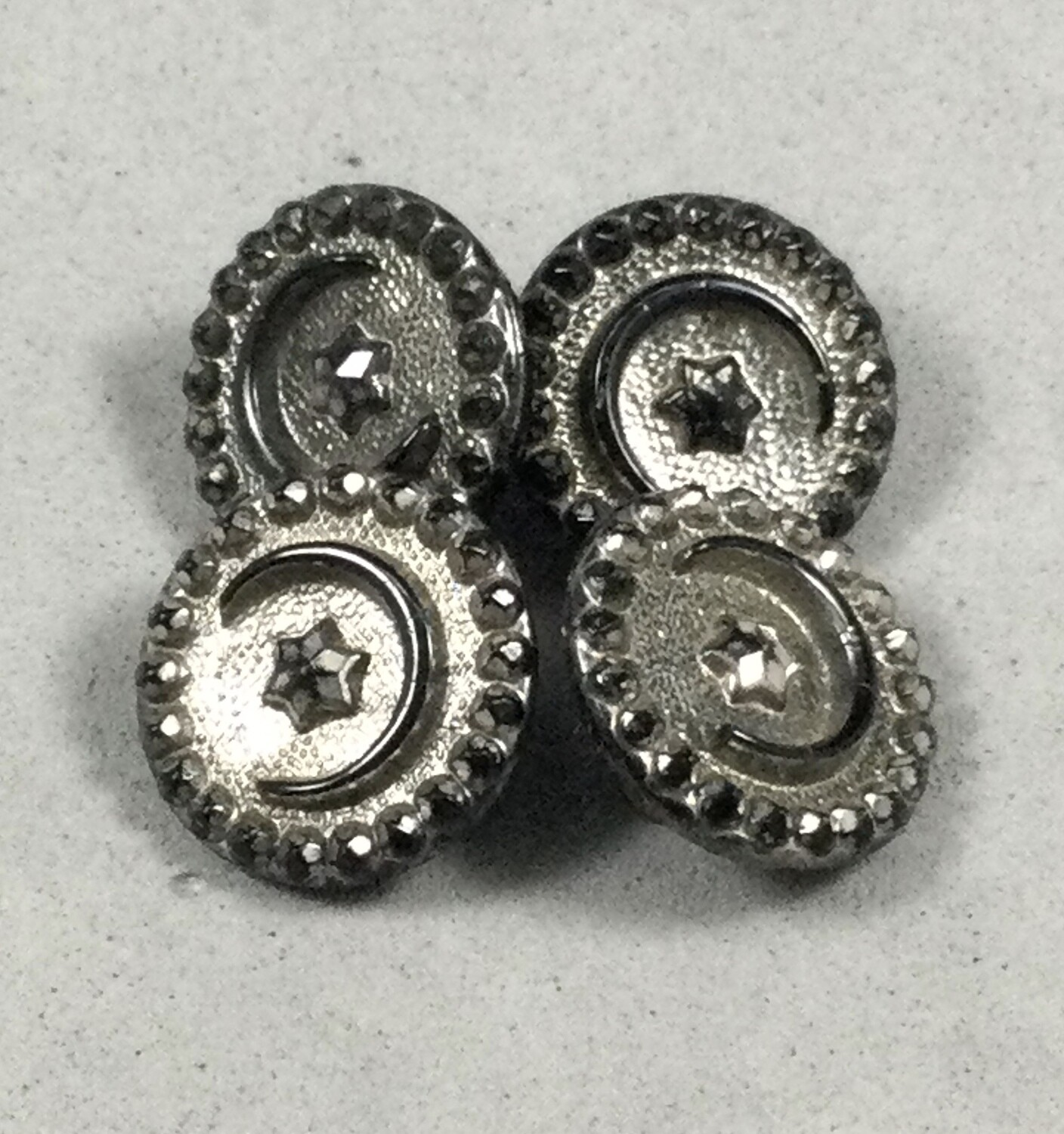 Set of Four Black Glass Crescent Moon and Star