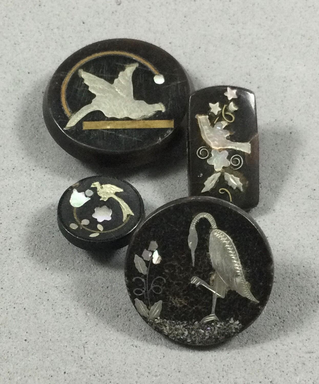Four Inlaid Bird Buttons