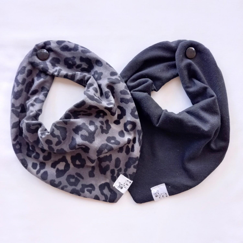 Grey Leopard Bib Set