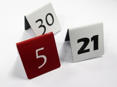 50 x 50mm Table Numbers 1 - 10