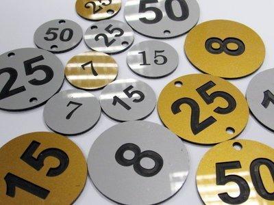 1.5mm 40mm round engraved laminate discs (€1.39 each)