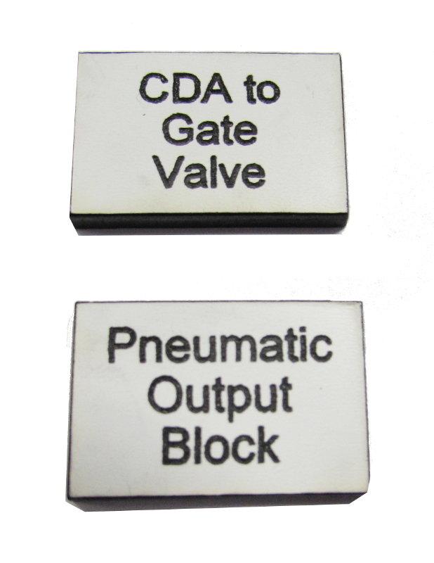 1.5mm 50 x 50mm rectangular engraved labels (€1.85 each)