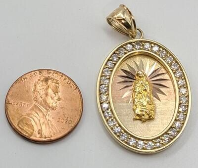 JESUS Pendant - CZ Bezel - 14K Yellow Gold 6.6g (Scratched back)