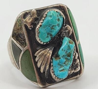 Vintage - Turquoise Silver Ring 925 19.3g Size:11 (Bent)
