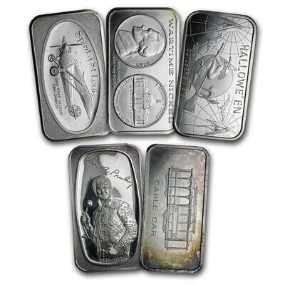Silver 1 Ounce Bars - RANDOM Design (7 Day Delay)