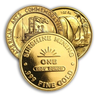 Gold 1 Ounce Round - RANDOM Design (7 Day Delay)