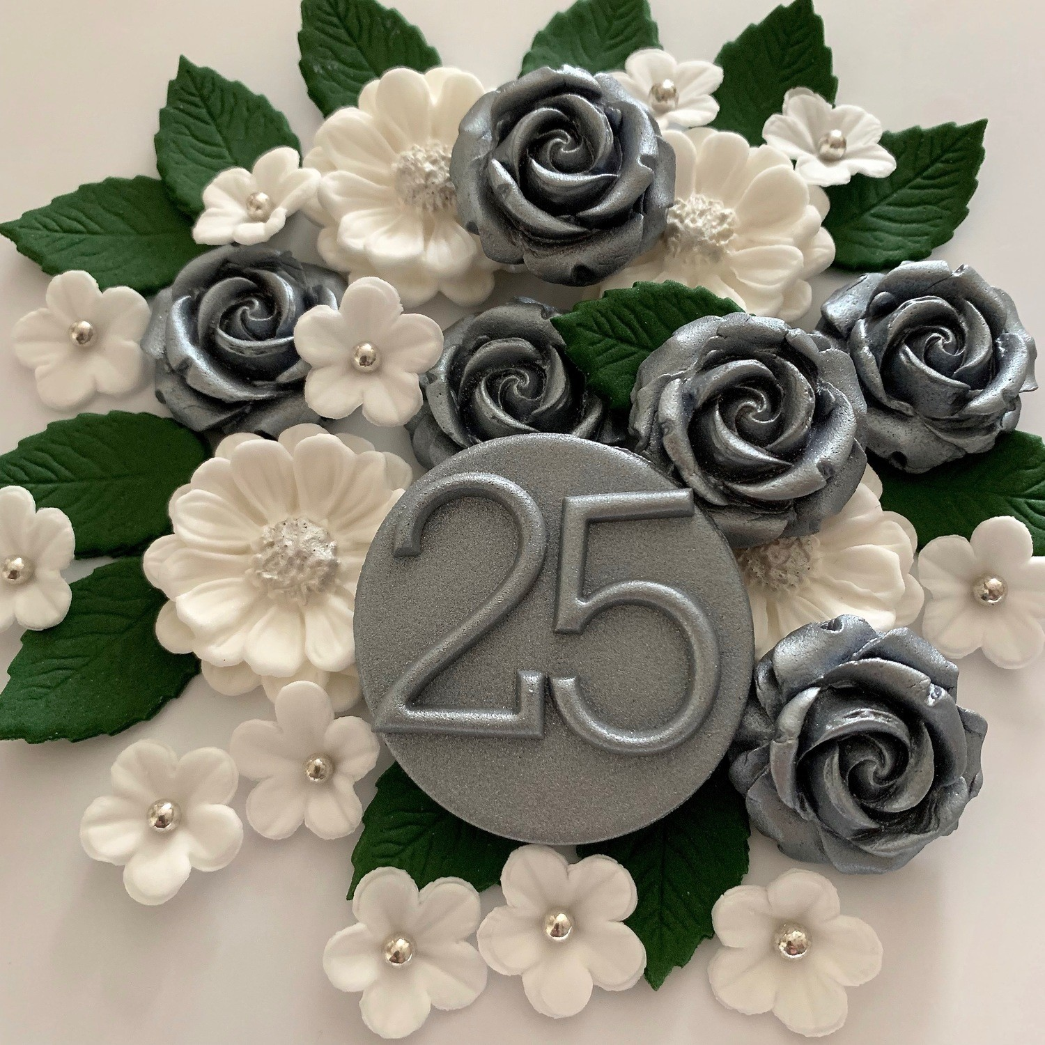 Silver Wedding Anniversary Rose Bouquet