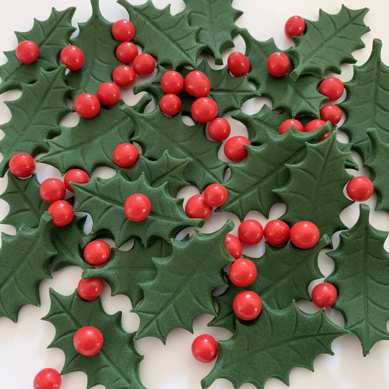 Green Holly Leaves & Berries