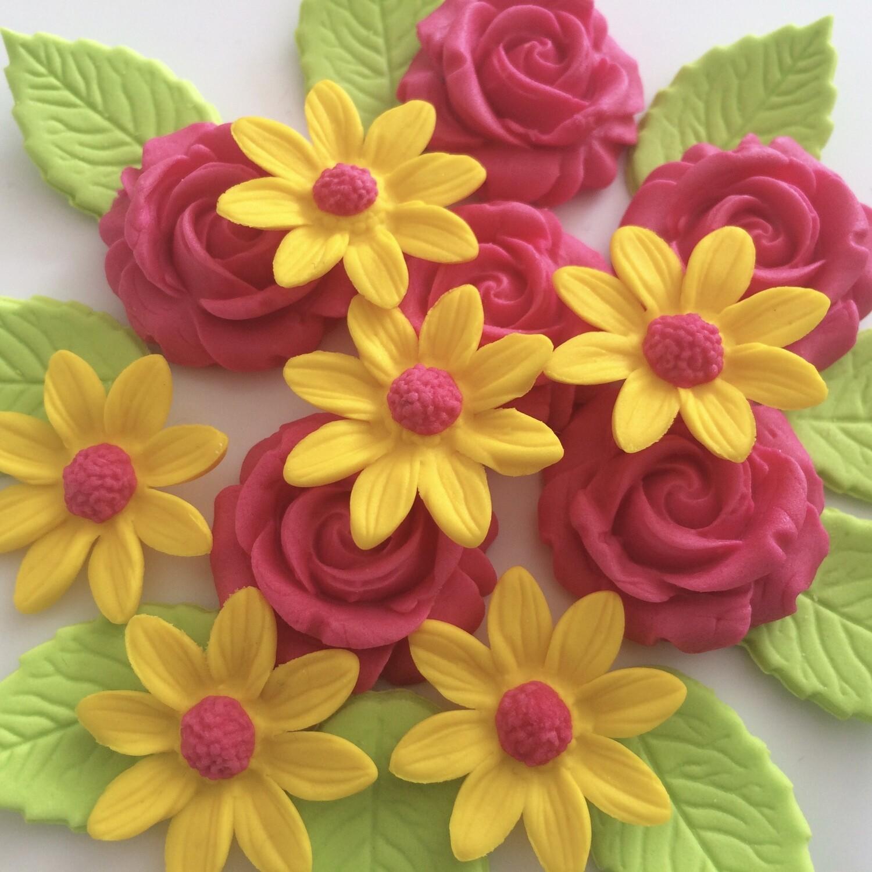 Pink Roses Yellow Daisies