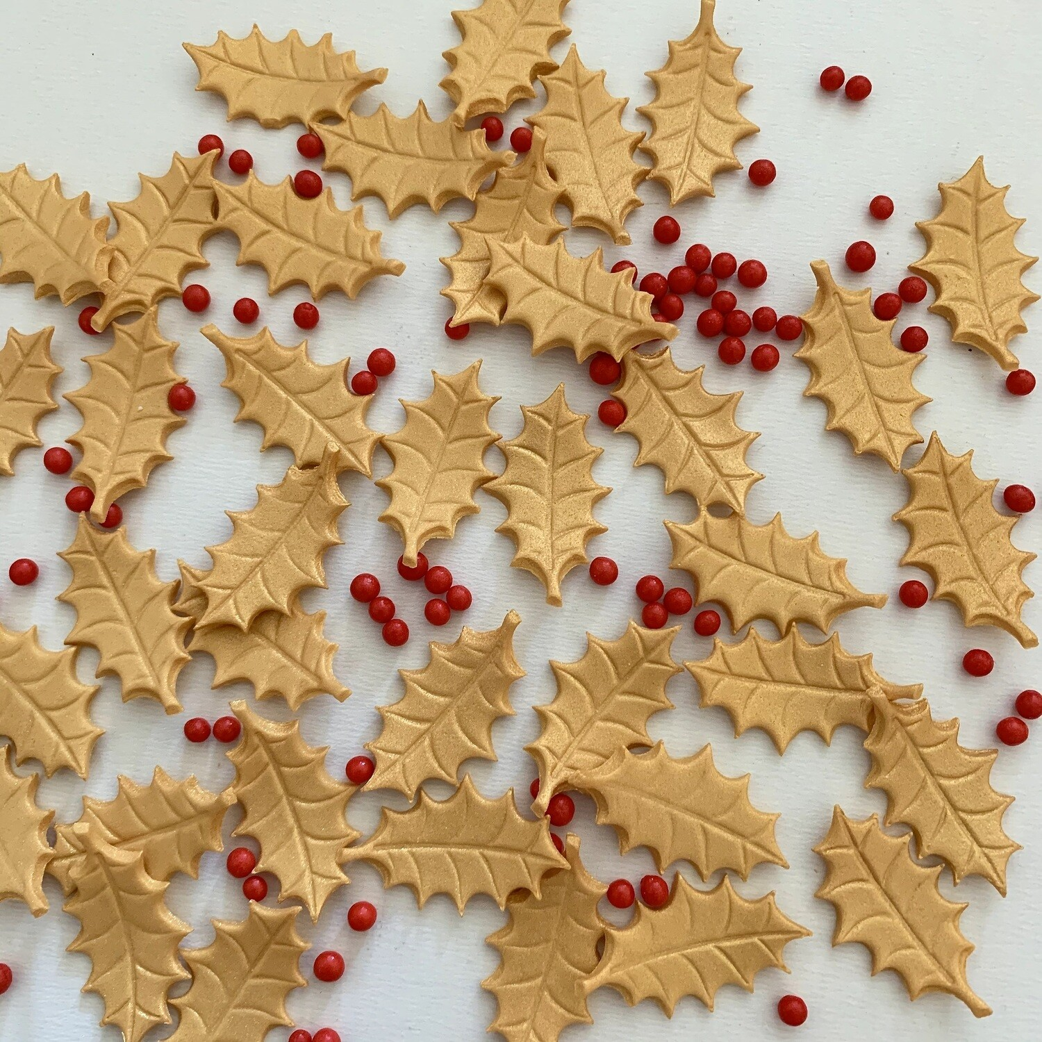 Gold Holly Leaves & Berries