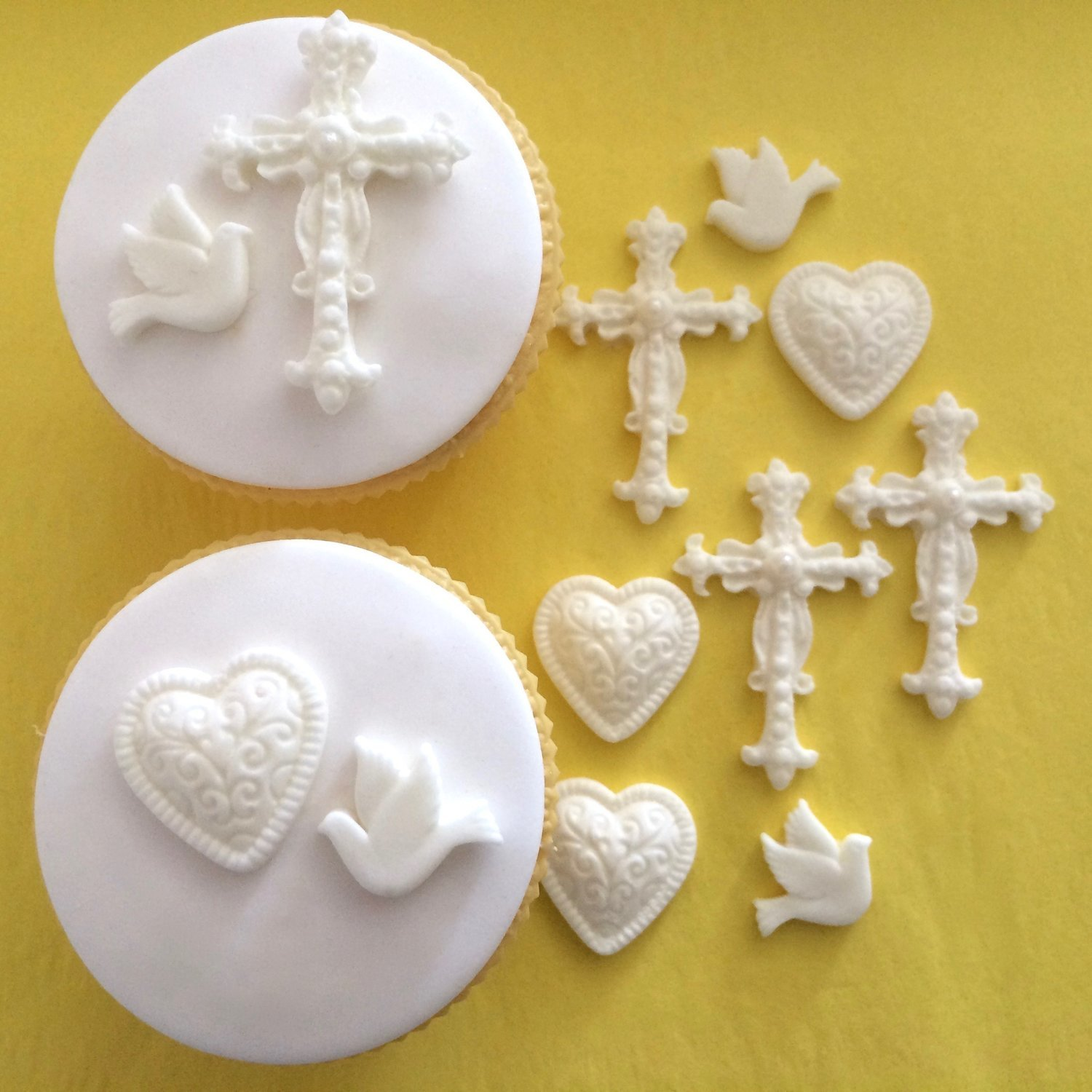 Christening Crosses, Hearts & Doves