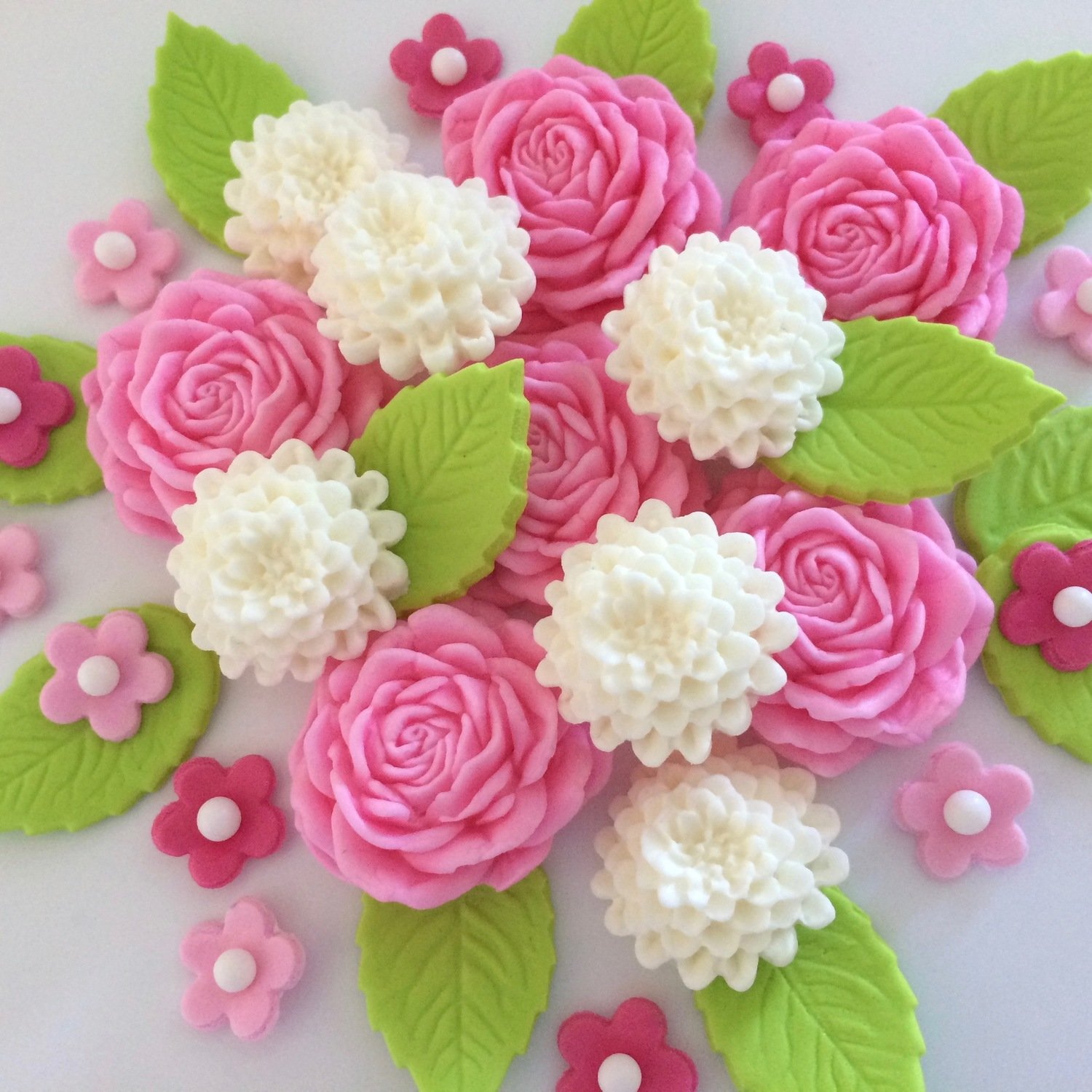 Pink Roses Ivory Mums