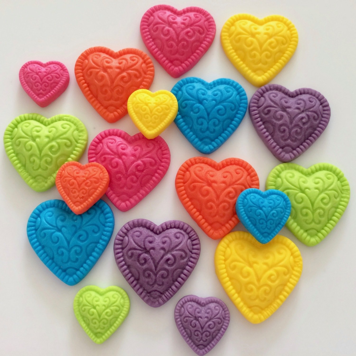 Rainbow Embossed Hearts