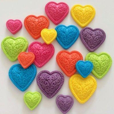 Rainbow Embossed Hearts