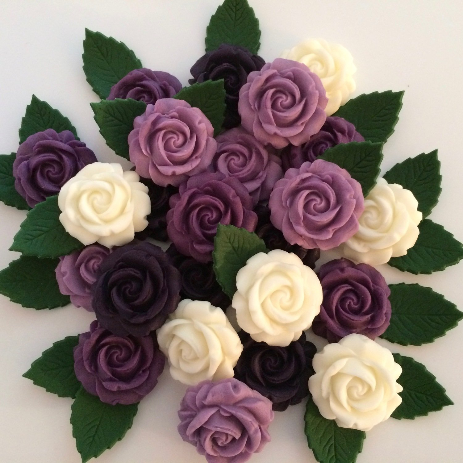 Purple Roses with Leaves
