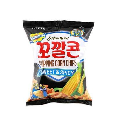 Lotte Sweet & Spicy Popping Corn Chips (144g)