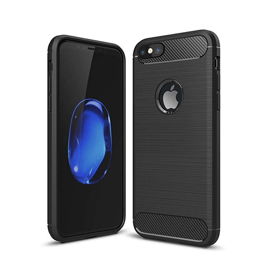 "Shockproof Silicone Light Brushed Grip Case Protective Case Cover For Apple iPhone 6/6s (4.7"") Black + Free Screen Protector"