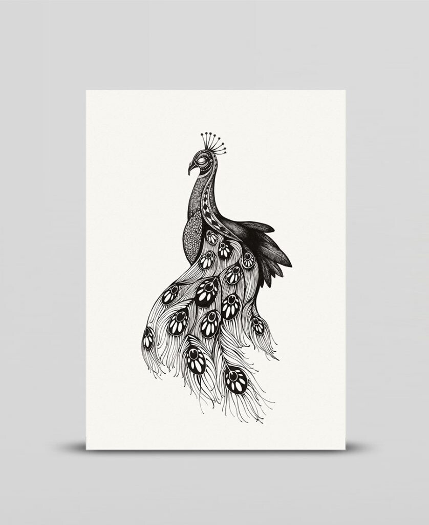 Mini print Peacock