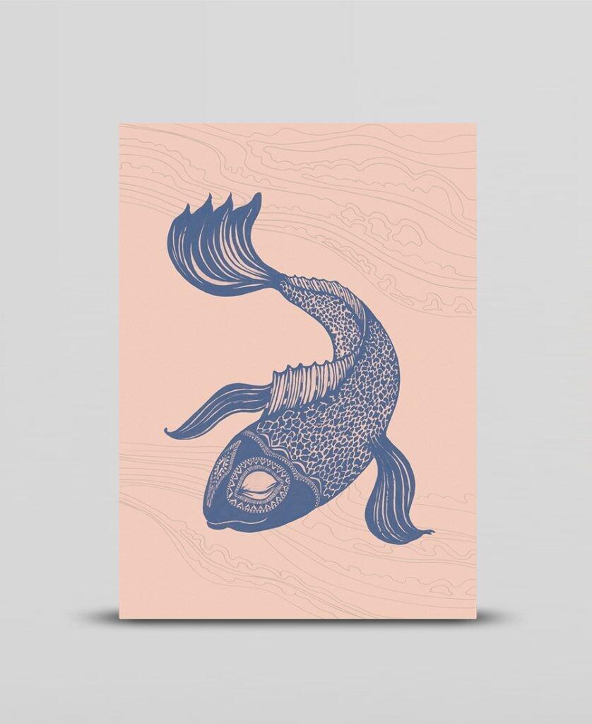 Mini print Blue fish
