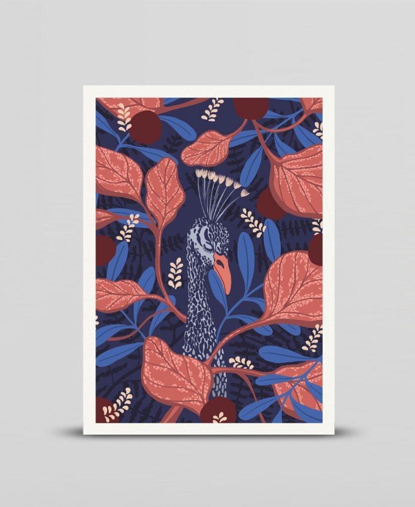 Mini print Hiding Peacock