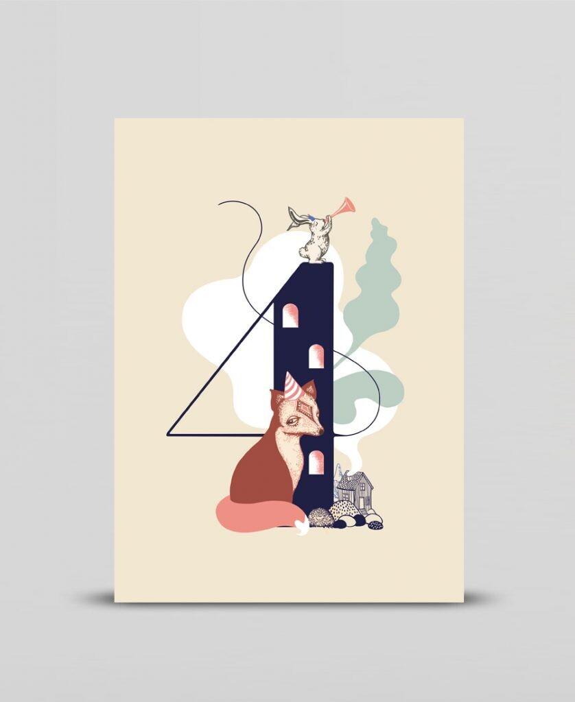 Mini print Happy four