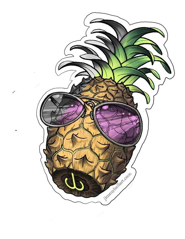 Pineapple, vinyl sticker (3.9x5.3 in.)