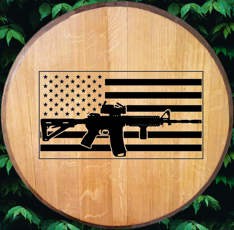AR-15 Flag Bourbon Barrel Head