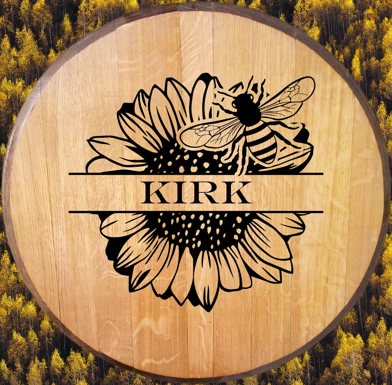 Bee Sunflower Monogram Bourbon Barrel Head