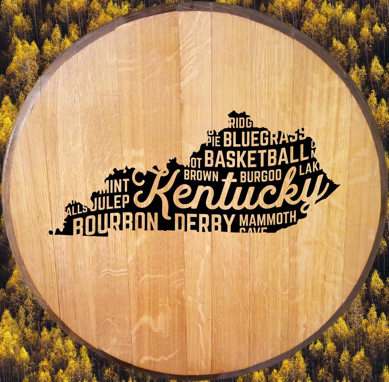 Kentucky Words Bourbon Barrel Head