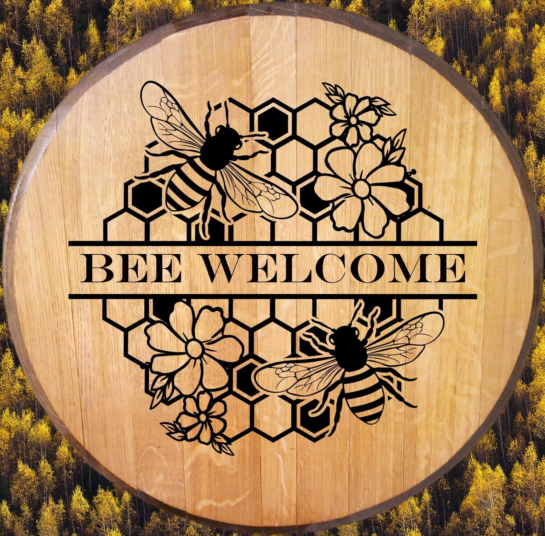 Bee Welcome Bourbon Barrel Head