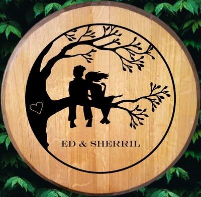 Couple In A Tree Bourbon Barrel Head