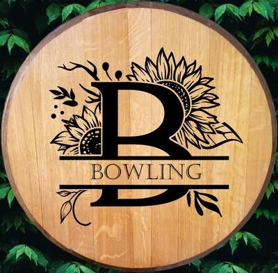 Sunflower Monogram Bourbon Barrel Head