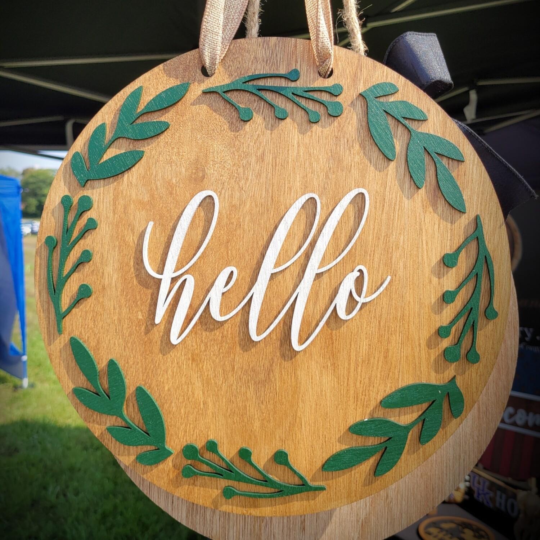 Hello Garden Door Hanger