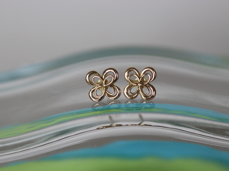Ohrringe GLÜCKSBRINGER in Form eines vierblättrigen Glückskleeblattes aus Gelbgold für Damen