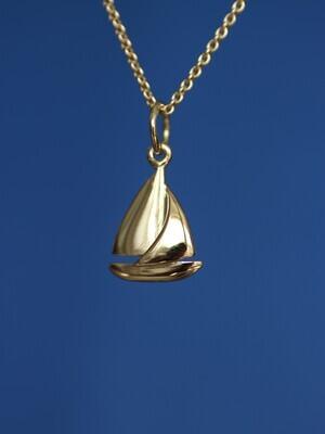 Anhänger SEGLER Gelbgold in Form eines Segelbootes, für Damen und Herren