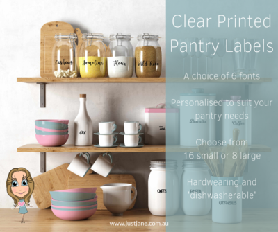 Clear Printed Pantry Labels  - 16 small OR 8 large