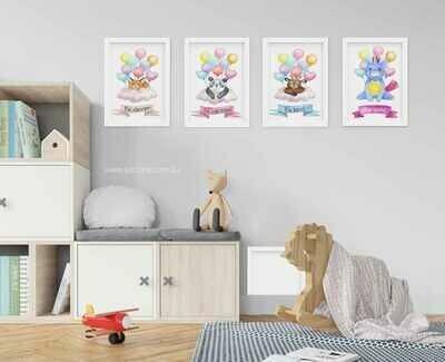 Cute Animals Nursery/Playroom Prints - Be Clever, Be Curious, Be Kind, Be You - Printables