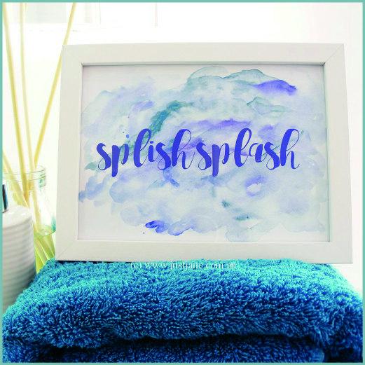 Bathroom Print - Splish Splash - blue, turquoise, purple - printable