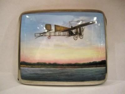 Zigaretten Etui Silber Emaille um 1909 mit Flugzeug, Original und selten, Blériot, collectable rare enamelled silver cigaret case aeroplane monoplane