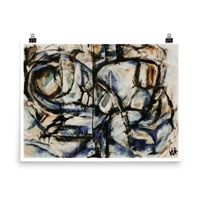 Blue Divide Abstract Art Poster