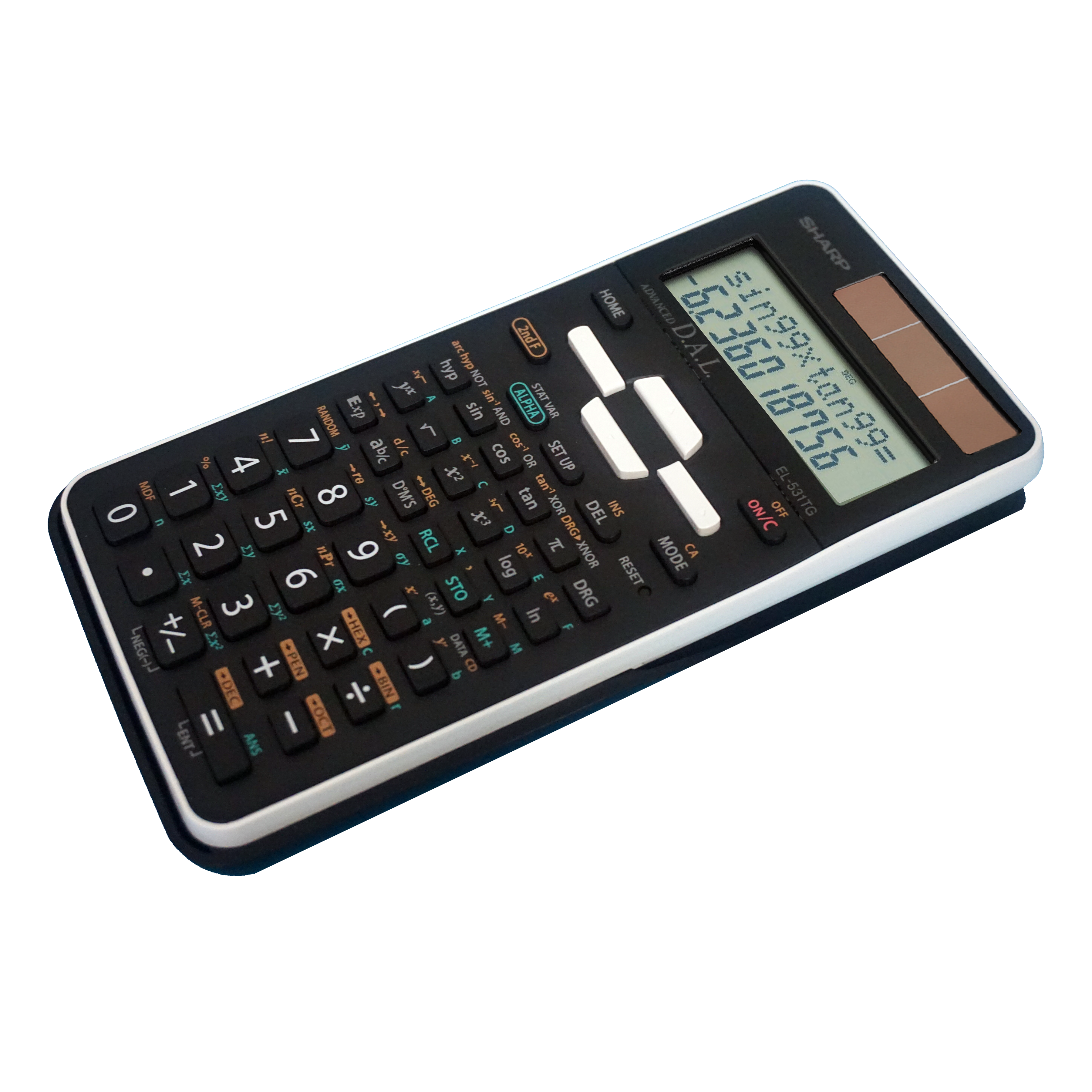 Sharp EL-531TGBBW 12-Digit Scientific//Engineering Calculator with Protective Hard Cover Black,Black and White Battery and Solar Hybrid Powered LCD Display Great for Students and Professionals