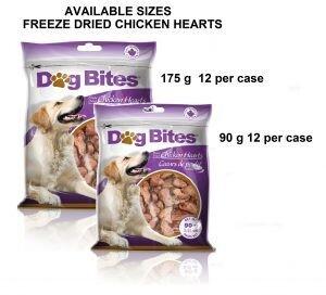DOG BITES FD CHICKEN HEARTS 90G