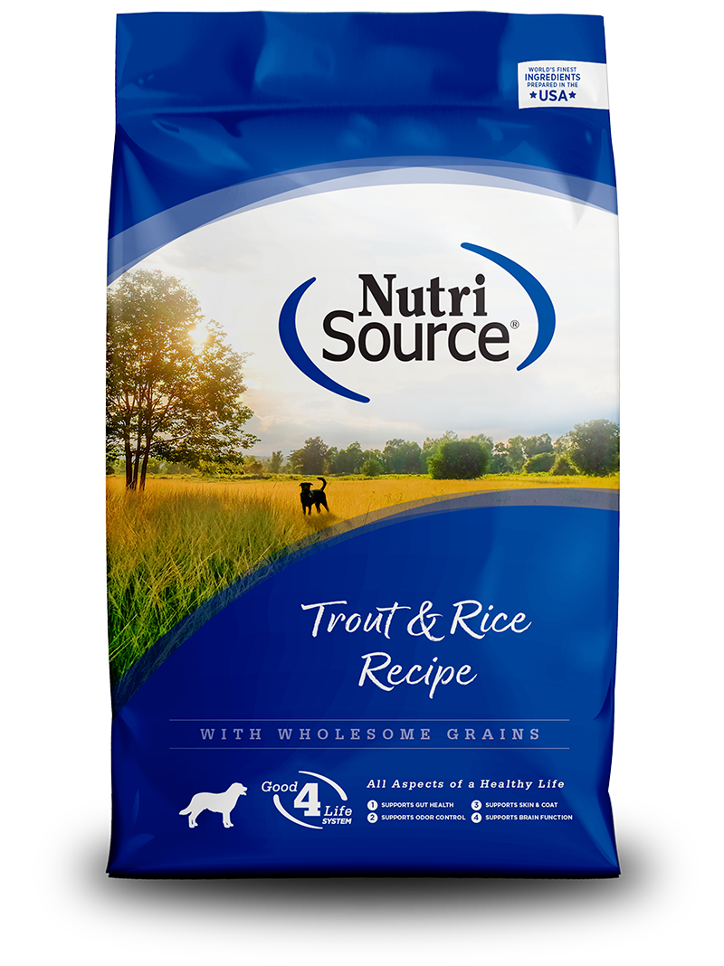 NUTRI SOURCE TROUT & BROWN RICE DOG 30LB