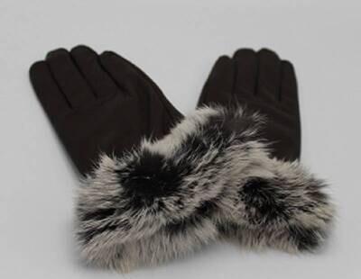 Donkerbruin fur Handschoenen