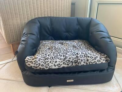 Francine Sofa  Eco Black with Leopard